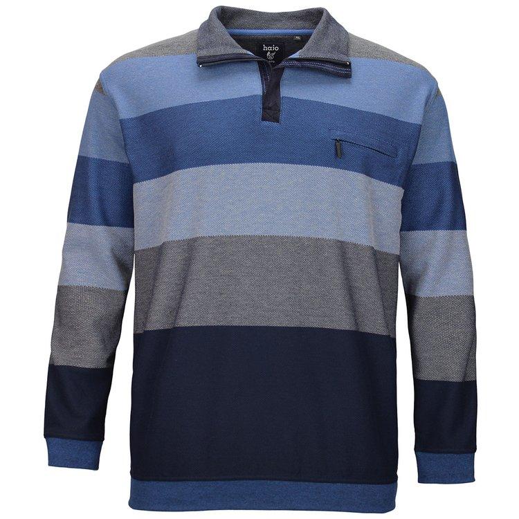 Herren Sweatshirt Übergröße, blau gestreift