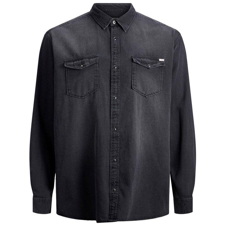 Jack&Jones Hemd in Übergröße im Jeanslook, schwarz