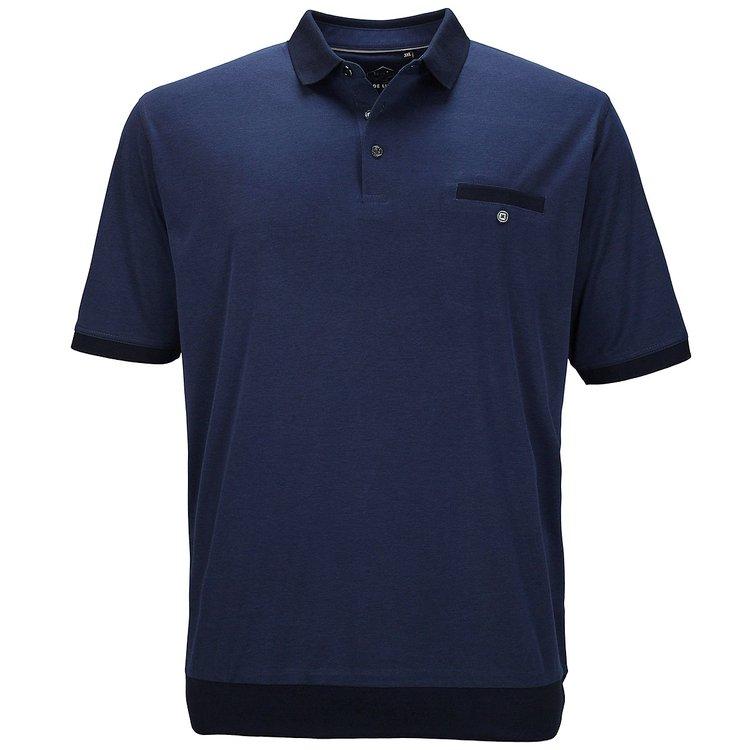 hajo Poloshirt mit elastischem Bund in Übergröße, blau