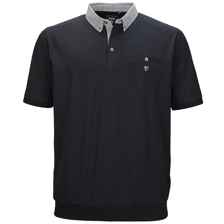 hajo Poloshirt mit elastischem Bund in Übergröße, schwarz