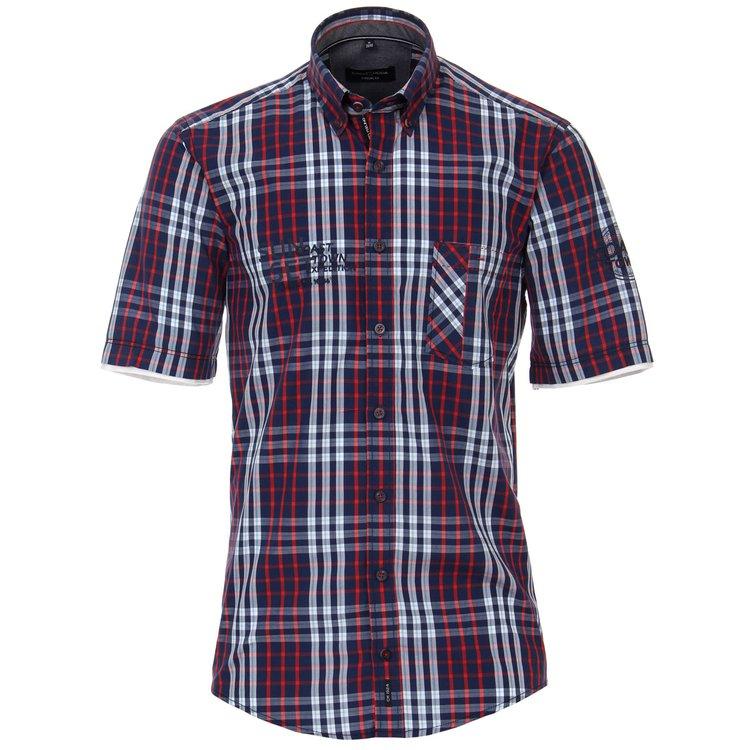 Halbarm Hemden Übergröße, dunkelblau/rot kariert