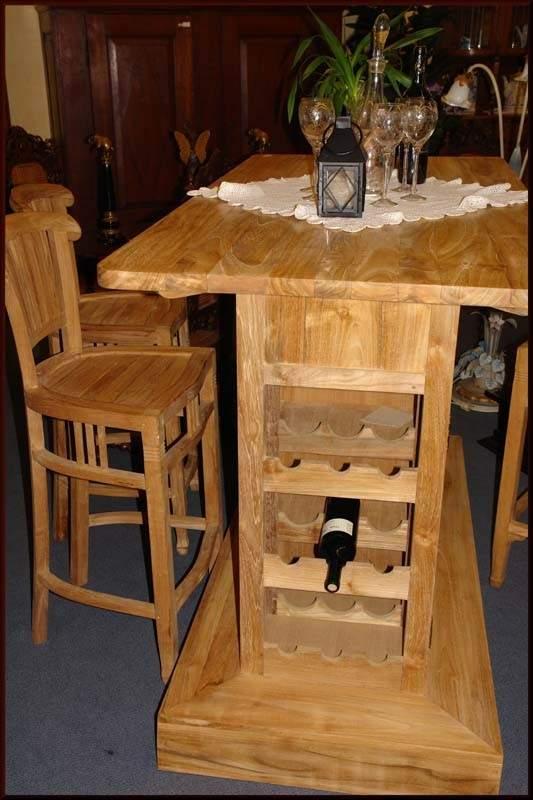 Theke Bar Tresen Hausbar Teakholz Teak massiv -unbehandelt- (1084) – Bild 3