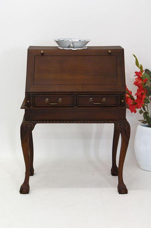 Sektretär Schreibtisch Schrägklappensekretär Mahagoni Antik Stil (1216) – Bild 2
