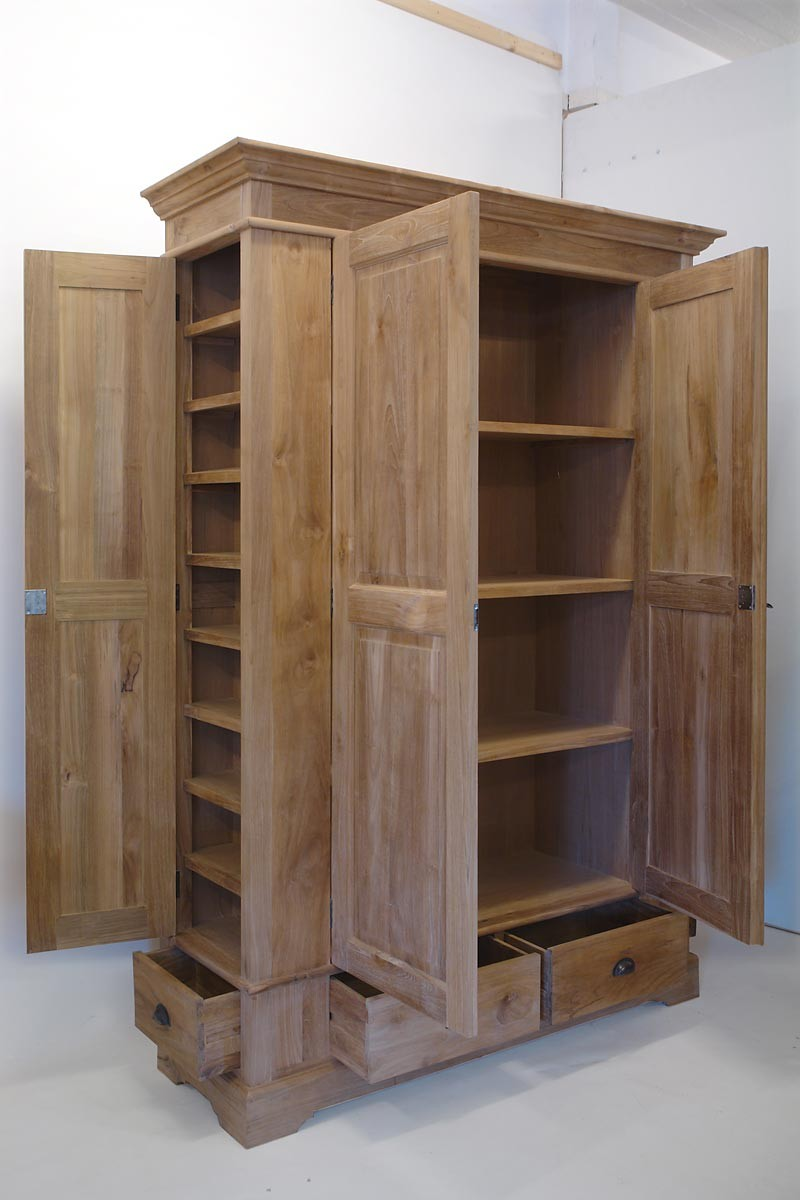 kleiderschrank schrank vorratsschrank teakholz massiv natur 210x152x51 cm 1670 m bel schr nke. Black Bedroom Furniture Sets. Home Design Ideas