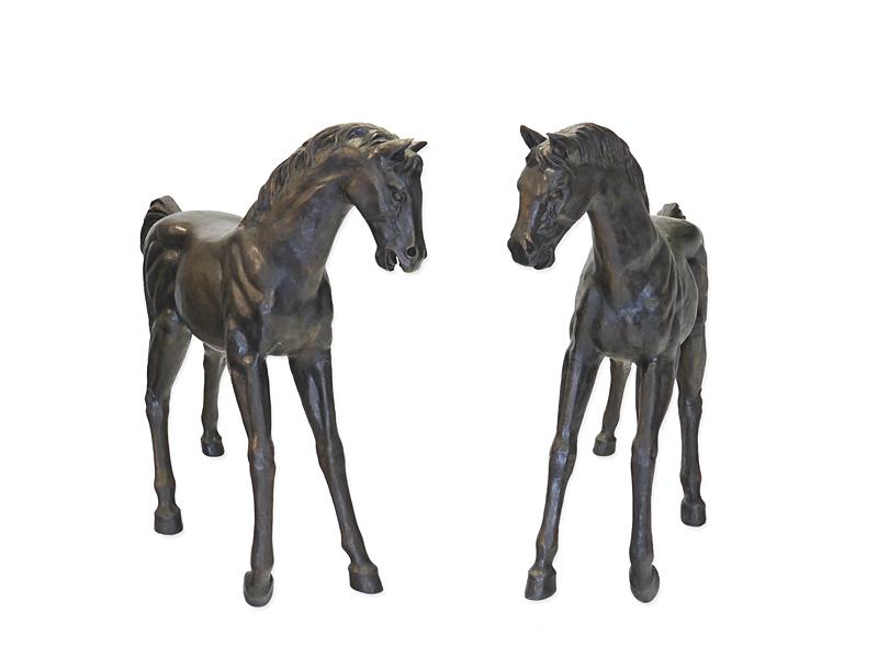 Fohlen Tierfiguren Pferde Paar lebensgroß aus Bronze für Haus und Garten (2285) – Bild 1