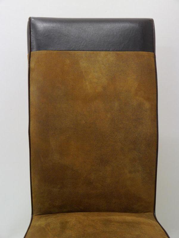 Stuhl Lehnstuhl Polsterstuhl mit braunem Textilbezug in Lederoptik (2424) – Bild 2
