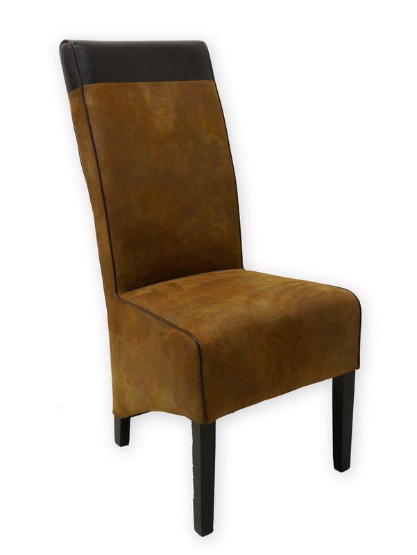 Stuhl Lehnstuhl Polsterstuhl mit braunem Textilbezug in Lederoptik (2424) – Bild 1