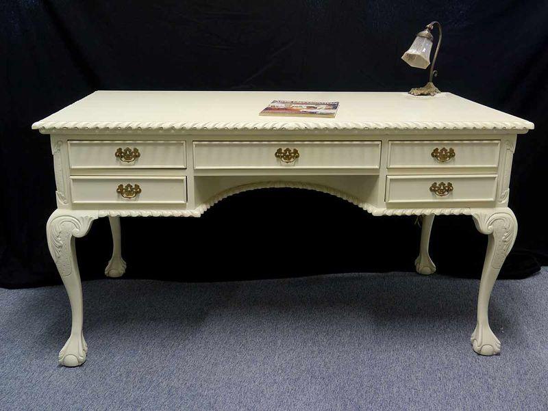 Schreibtisch Sekretär Damenschreibtisch aus Massivholz cremeweiß Antik Stil (2882) – Bild 1