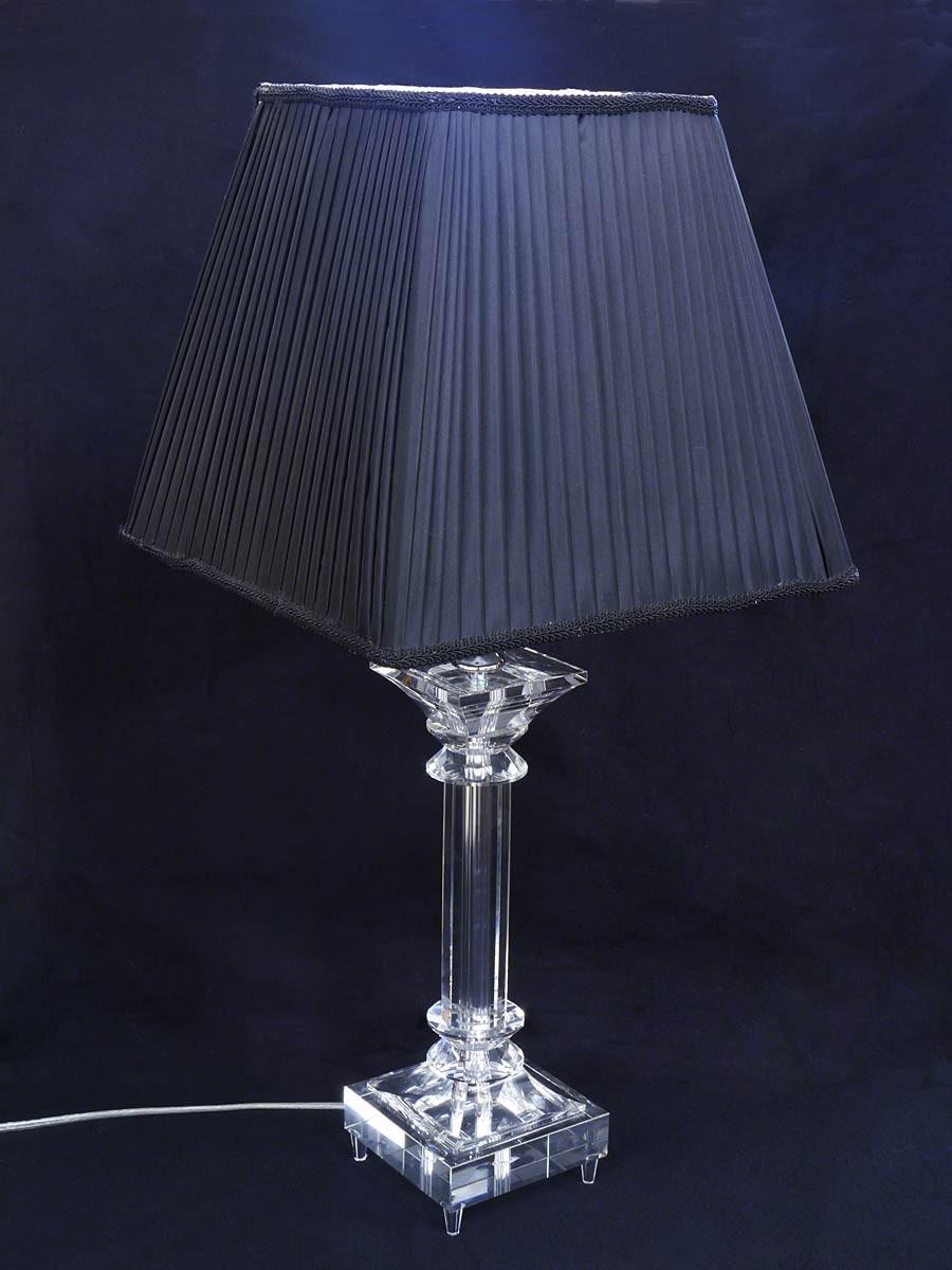 Tischleuchte Tischlampe Leuchte Kristallständer Trapezförmigen Schirm 2969