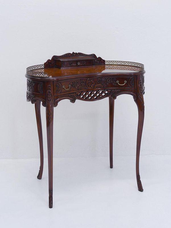 Schreibtisch Damenschreibtisch Sekretär im antiken Stil aus Mahagoni/ Wurzelholz  (3048) – Bild 1