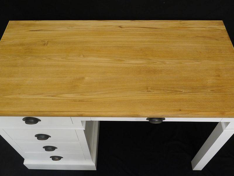 Schreibtisch Büromöbel Computertisch Landhausstil Mahagoni Weiß + Natur (3489) – Bild 3