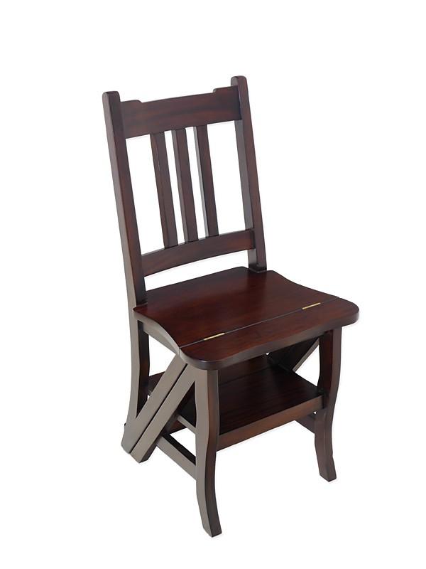 Leiterstuhl Stuhl Treppenstuhl Massivholz Nussbaum dunkel zum Ausklappen (3555) – Bild 1