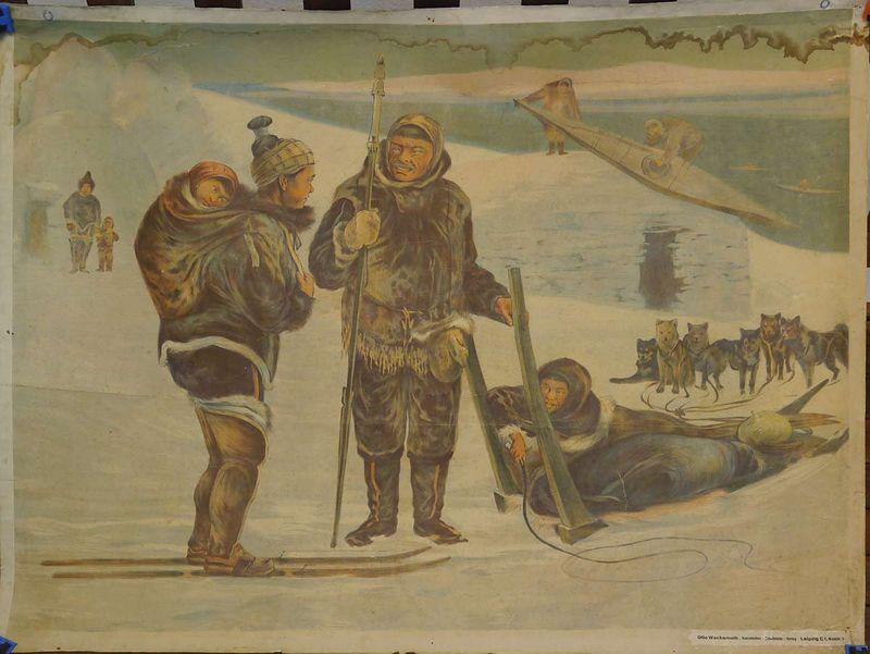 "Schulwandbild Schultafel Schulbild zum Thema Völkerkunde  ""Eskimofamilie"" (3587) – Bild 1"