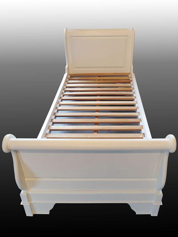 Bett Einzelbett Holzbett 90 x 200 cm Matratzenmaß Massivholz in weiß (3598) – Bild 3