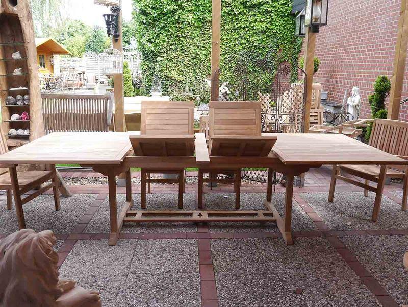 Gartentisch Tisch Gartenmöbel aus massivem Teakholz ausziehbar 200 cm (3653) – Bild 2