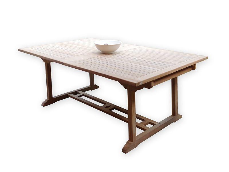 Gartentisch Tisch Gartenmöbel aus massivem Teakholz ausziehbar 200 cm (3653) – Bild 1