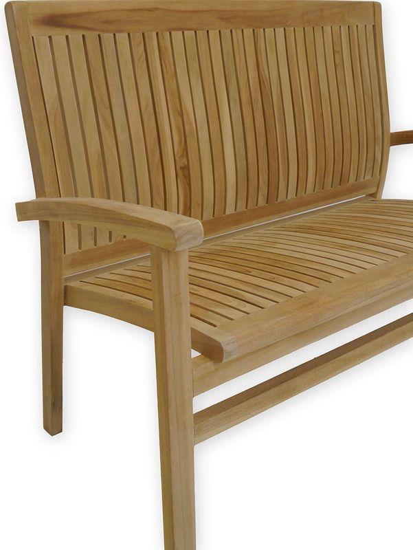Gartenbank Sitzbank Gartenmöbel 2-Sitzer aus massiven Teak Holz (3655) – Bild 3