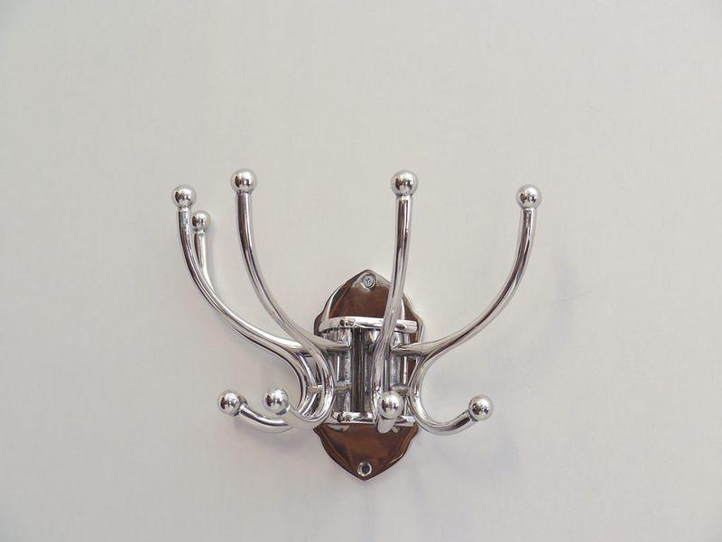 Garderobe Wandgarderobe  Garderobenhaken 5-armig silber H 22 cm (3738) – Bild 1