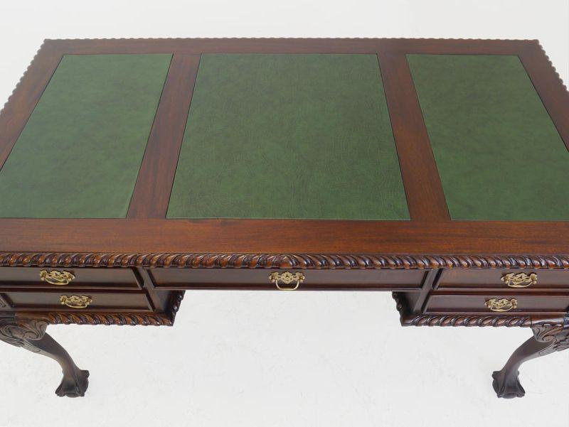 Schreibtisch Büromöbel Schreibmöbel antiken Stil grüne Lederauflage (3809) – Bild 2