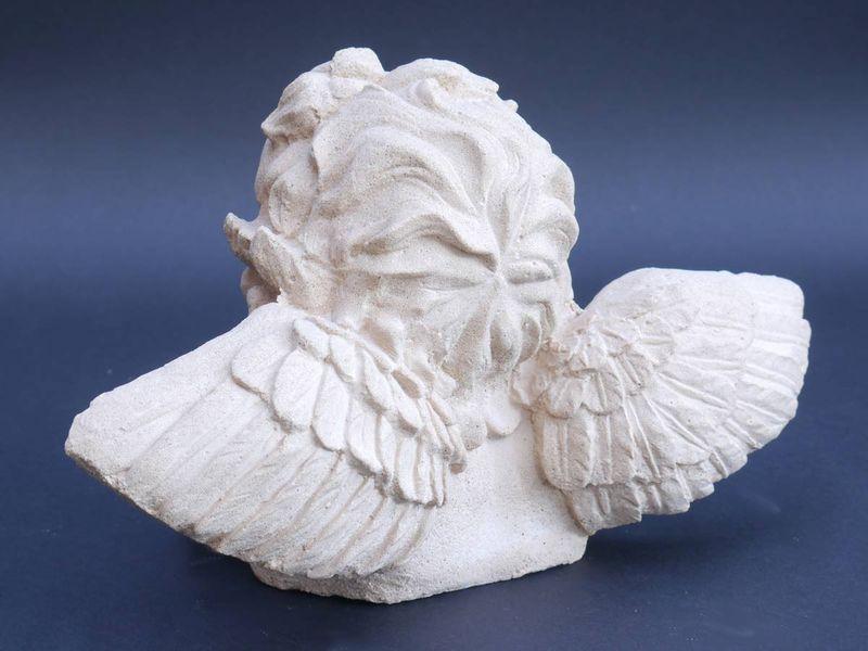 Sandstein Skulptur Figur Engelkopf Marie für Haus und Garten (3887) – Bild 2