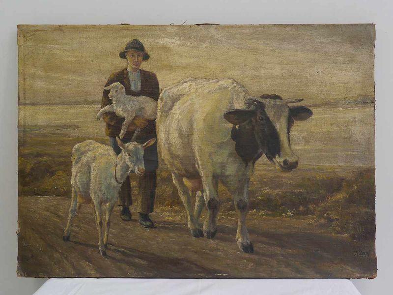 """Bild Ölbild Gemälde """"Hirte mit seinen Tieren"""" (3914) – Bild 1"""