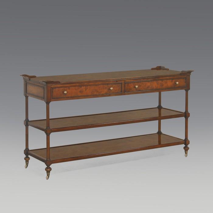 Tisch Wandtisch Konsole Mahagoni / Wurzelholz Furnier im englischen Stil (3962)