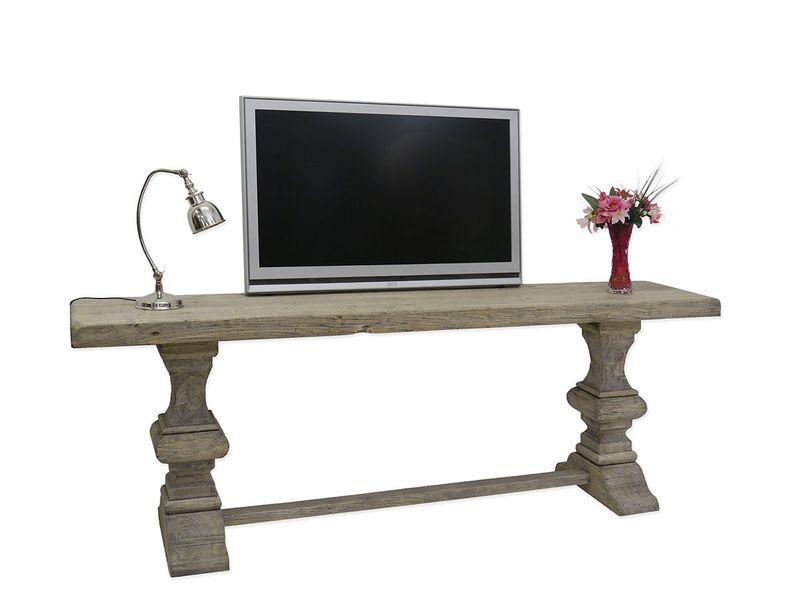 Wandtisch Tisch Konsolentisch TV-Tisch 220 cm altes Pappelholz Antik Stil (3964) – Bild 1