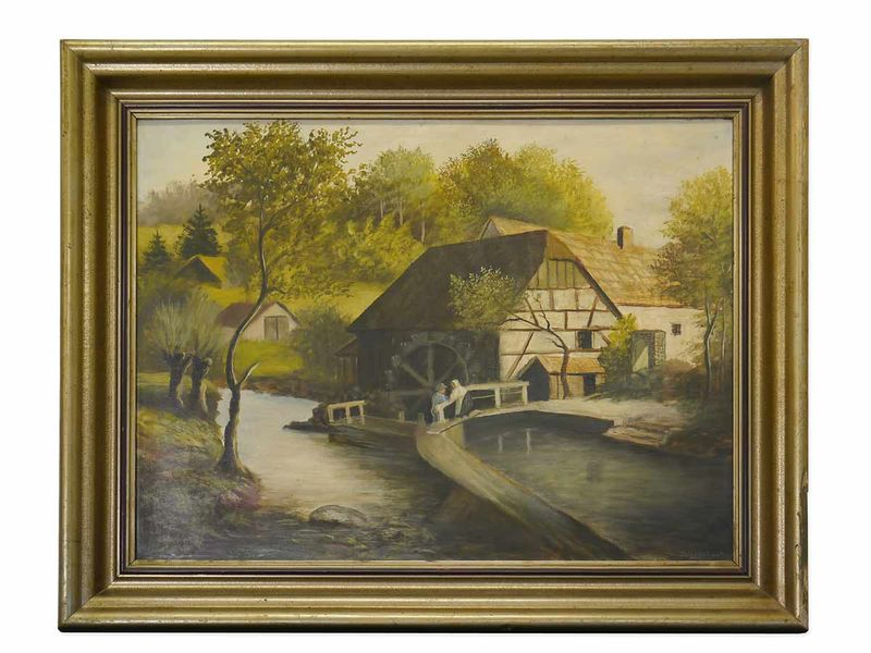 """Bild Ölbild Gemälde """"Wassermühle""""  mit Holzrahmen (4010) – Bild 1"""