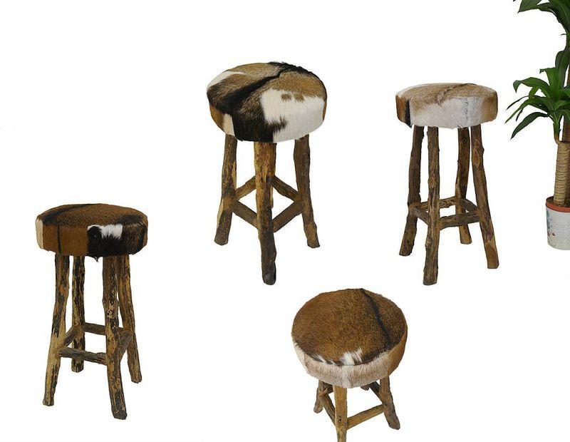 Hocker Barhocker Sitzhocker mit Ziegenfell + Teakholz massiv (4250) – Bild 1
