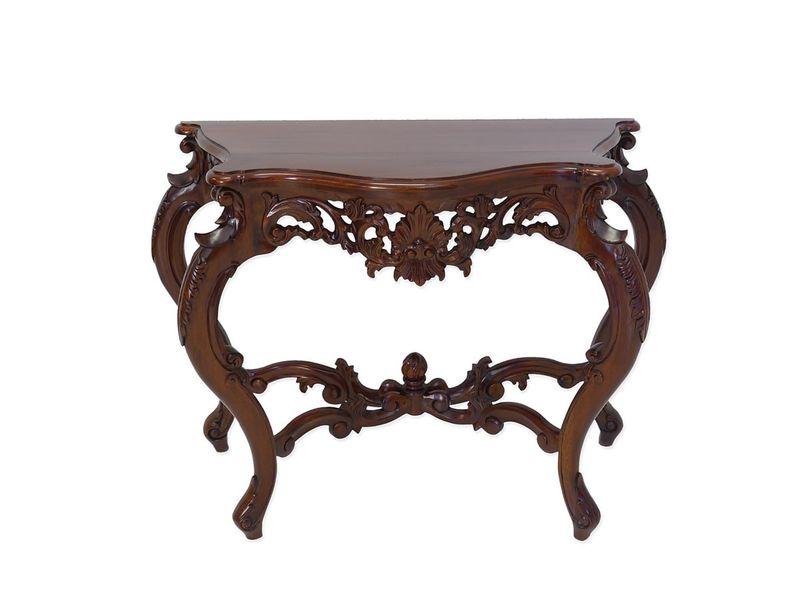 Wandtisch Konsolentisch Tisch Barock Stil Massivholz Nussbaum-Farbton (4275) – Bild 1
