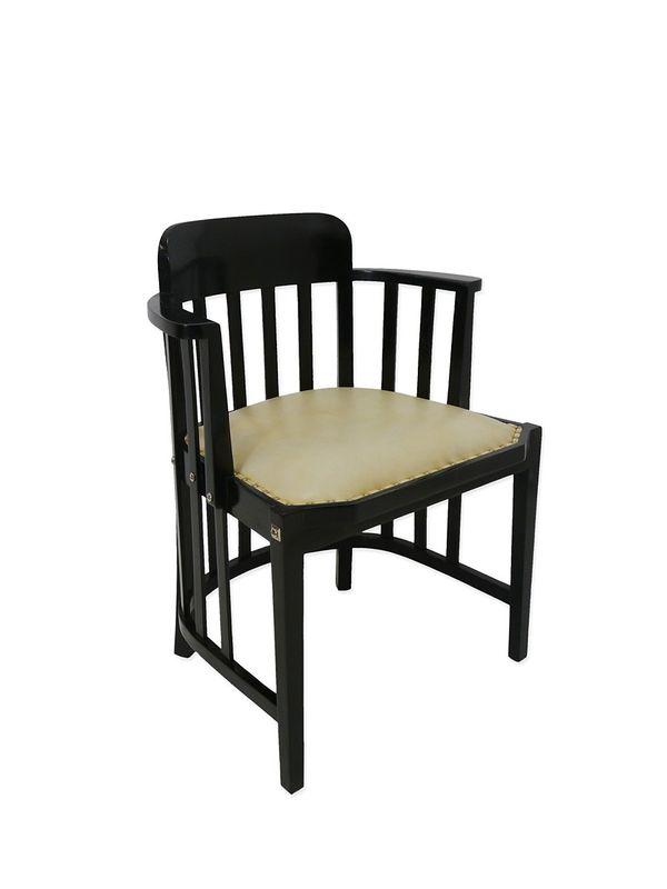 Konferenzstuhl Stuhl Bürostuhl Esszimmerstuhl in schwarz + helles Lederr (4279) – Bild 1