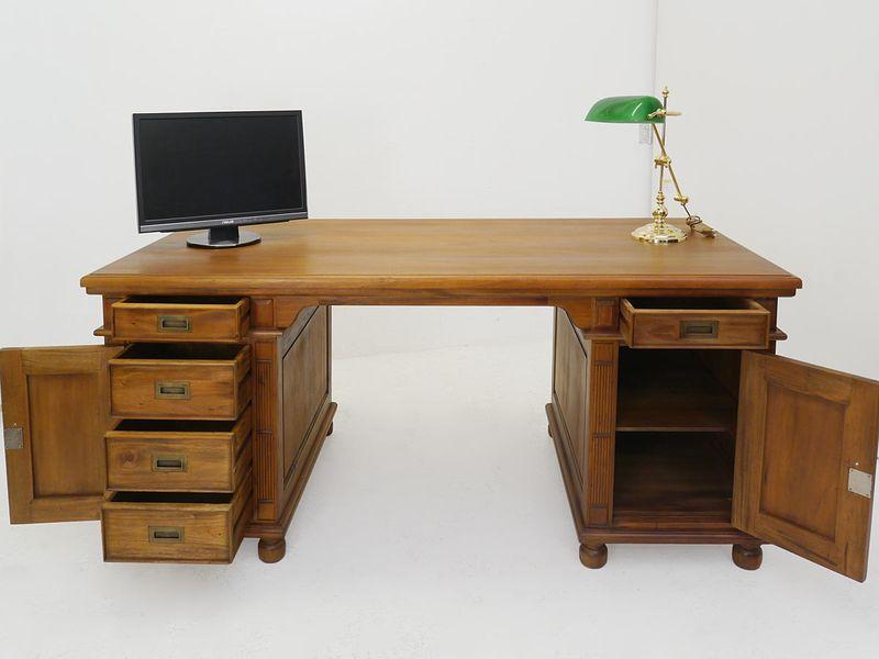 Schreibtisch Büromöbel Partnerdesk Massivholz im Nussbaum-Farbton (4316) – Bild 2