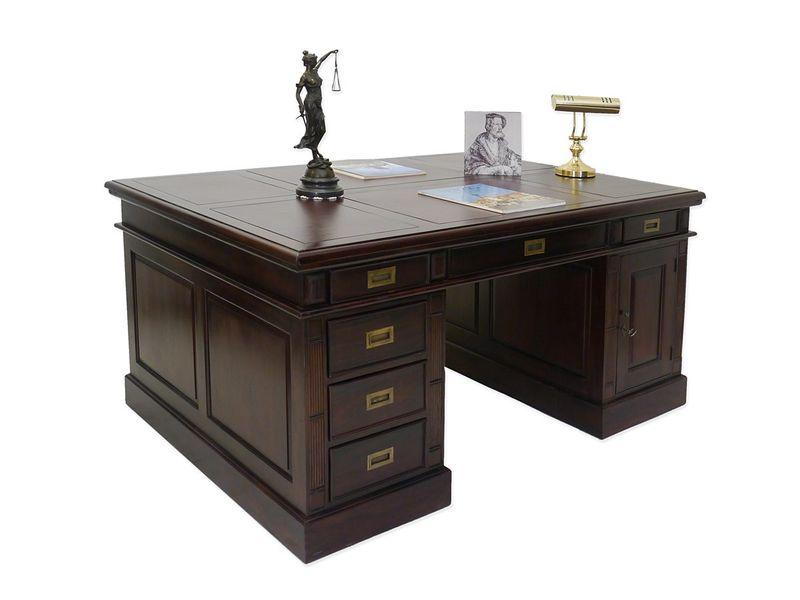 Schreibtisch Büromöbel Partnerdesk Massivholz im Nussbaum dunkel (4335) – Bild 1