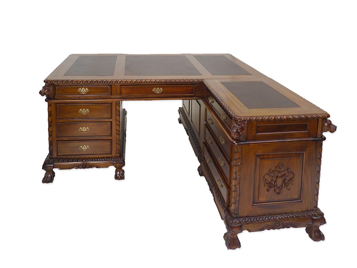 schreibtisch eckschreibtisch b rom bel partnerdesk antik stil massivholz 4404 schreibm bel. Black Bedroom Furniture Sets. Home Design Ideas