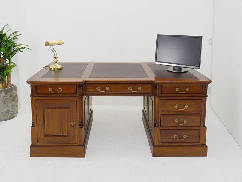 Partner-Schreibtisch Massivholz im Nussbaum-Farbton B: 180 cm (4416) – Bild 2