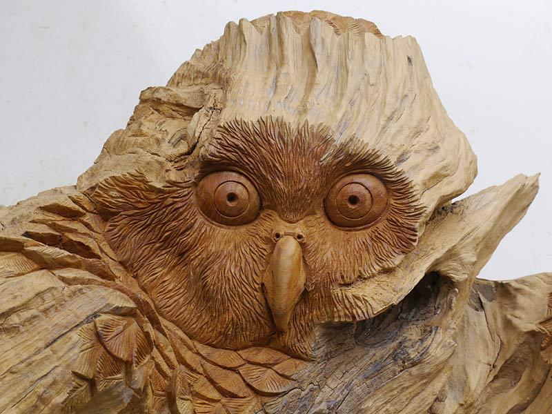 Eule Skulptur Holzfigur Tierskulptur Naturbildnis Handarbeit Wurzelholz (4455) – Bild 2