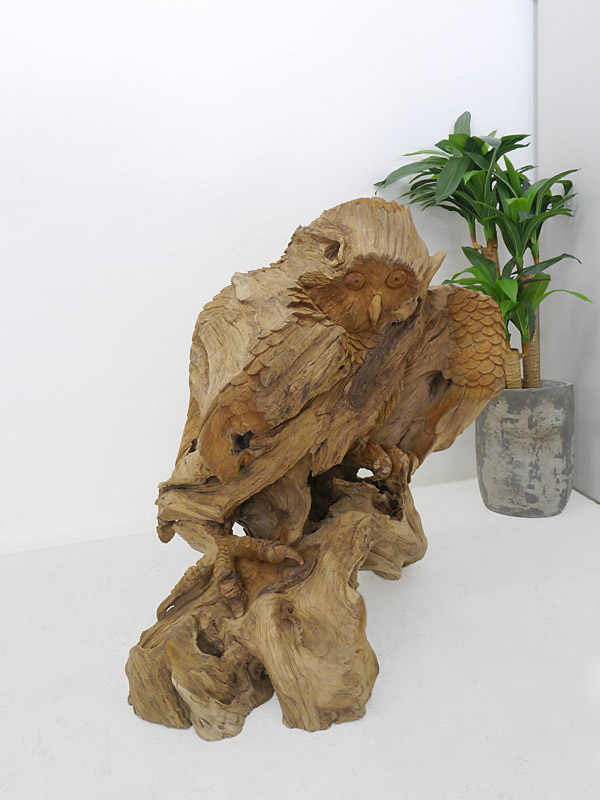Eule Skulptur Holzfigur Tierskulptur Naturbildnis Handarbeit Wurzelholz (4455) – Bild 8