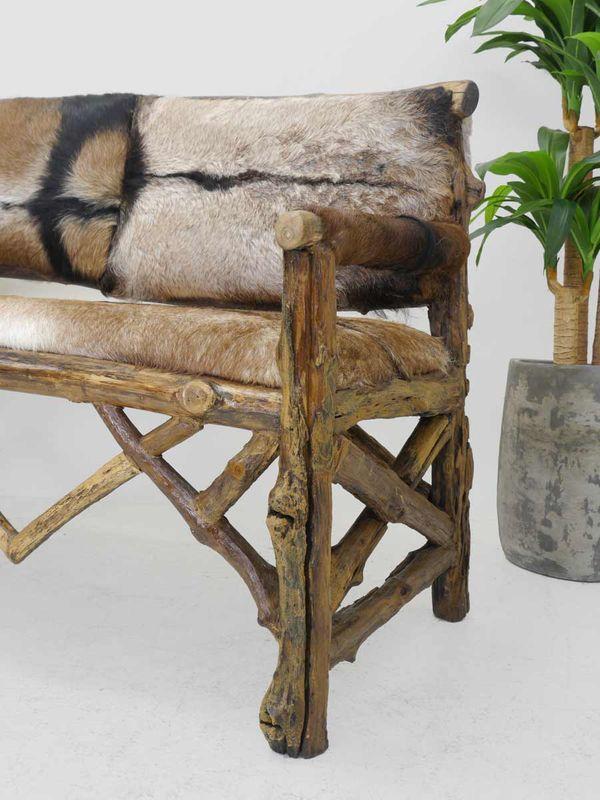 Bank Sitzbank Sofa Polstermöbel aus Massivholz + Ziegenfell (4459) – Bild 2