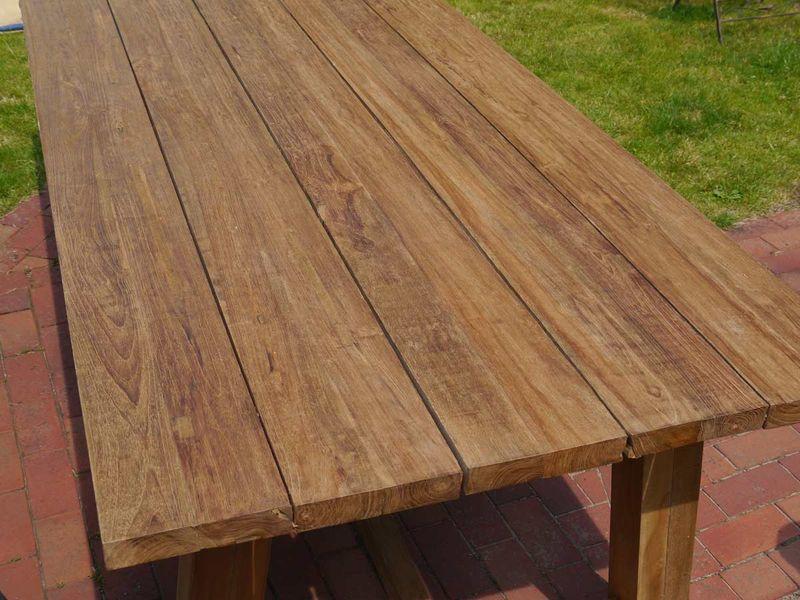 Sitzgruppe Sitzgarnitur Gartenmöbel Tisch + Bänke aus recycelten Teakholz (4471) – Bild 3