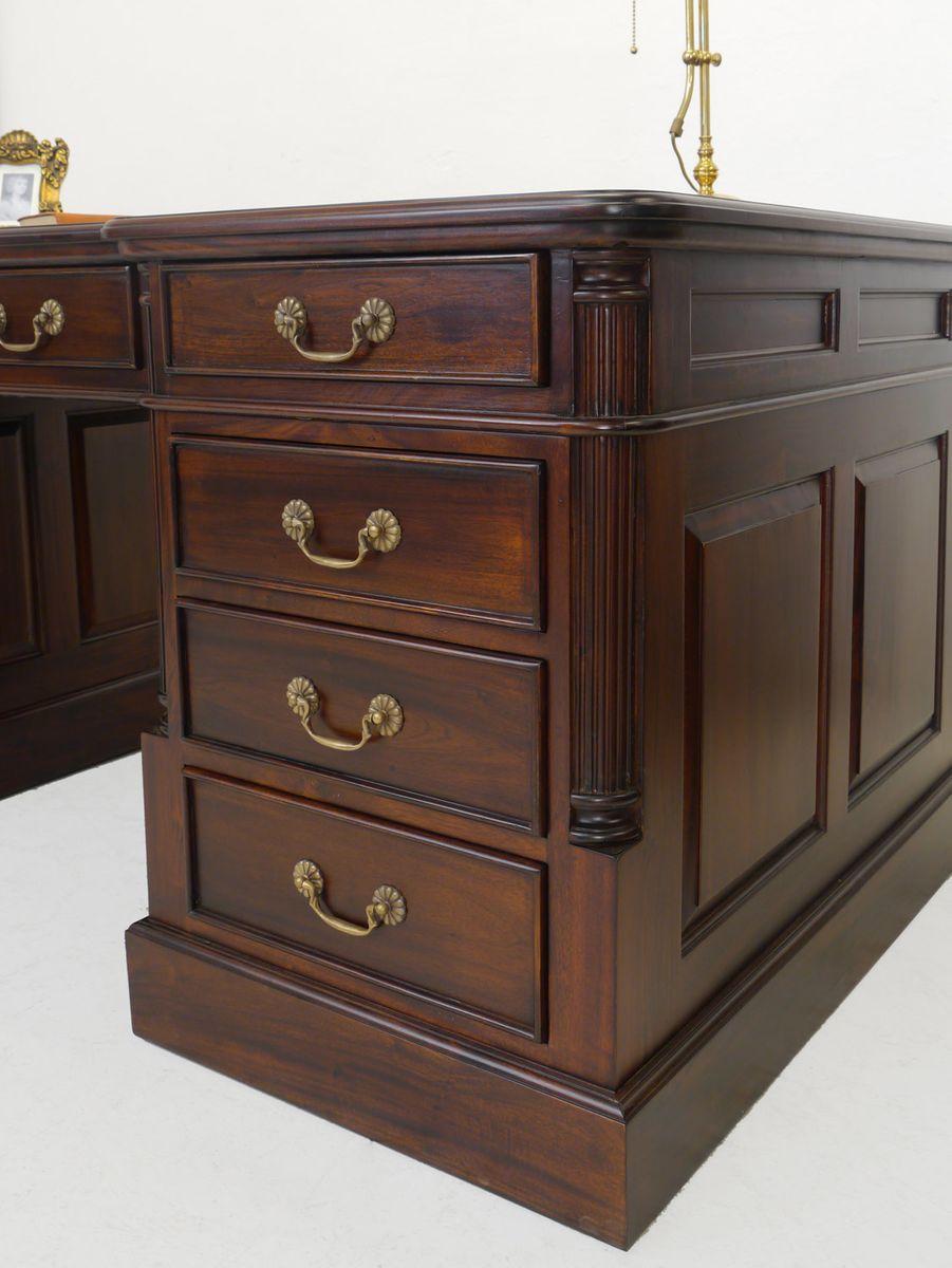 schreibtisch partnerdesk b rom bel aus massivholz mit echtlederauflage 4517 m bel schreibm bel. Black Bedroom Furniture Sets. Home Design Ideas