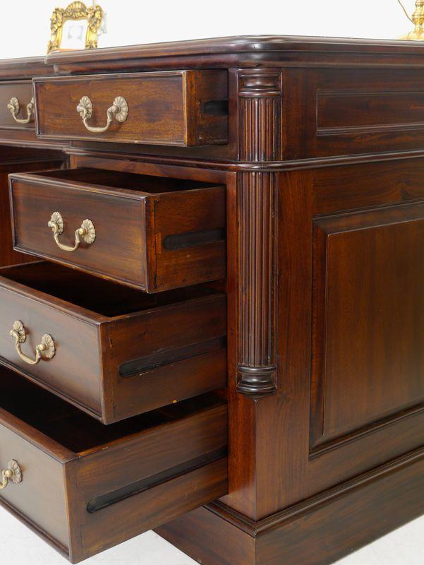 Partner-Schreibtisch antiker Stil massiv Lederauflage – Bild 7