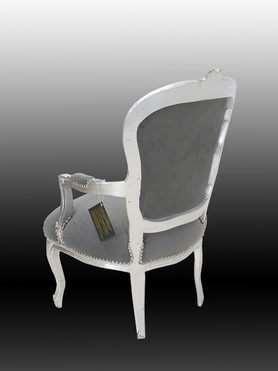 sessel armlehnstuhl sitzm bel damensessel im barock stil in silber grau 4521 sitzm bel sofas. Black Bedroom Furniture Sets. Home Design Ideas