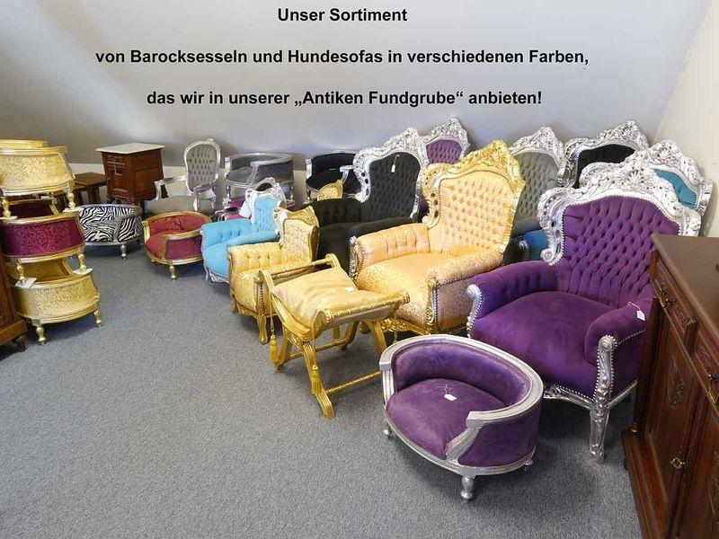 Sessel Kindersessel Sitzmöbel Barock Stil Massivholz in silber/grau (4522) – Bild 4