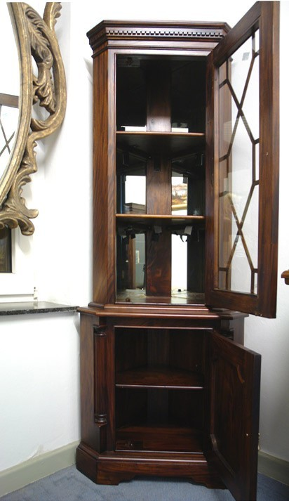 Eckvitrine Vitrine Eckschrank Antik Stil Massivholz Nussbaum H 190 cm  (466) – Bild 2