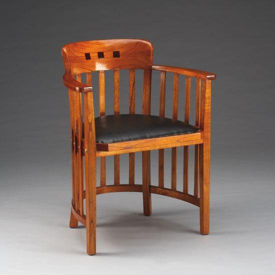 Stuhl Bürostuhl mit Lederpolster aus Mahagoni – Bild 1