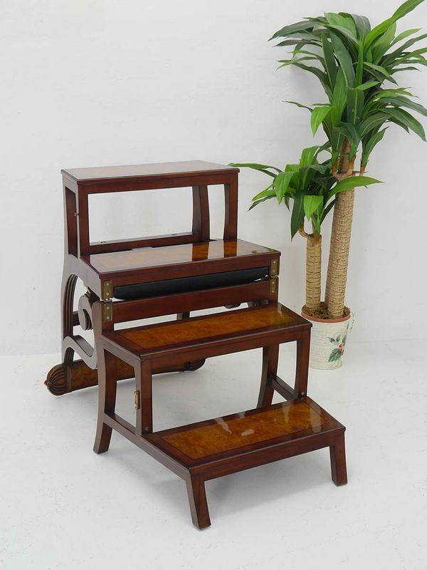 Bürostuhl Treppenstuhl Leiterstuhl englischen Stil aus Mahagoni + Leder (4897) – Bild 3