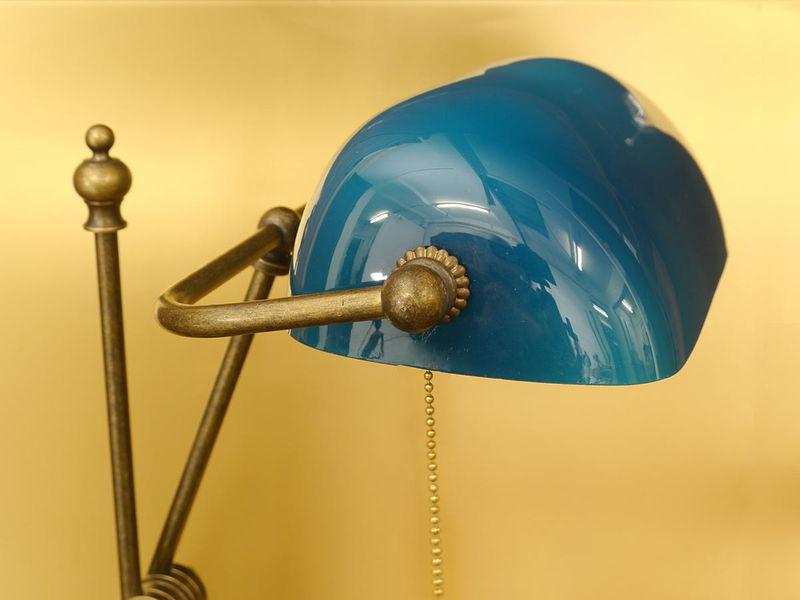 Bankerslampe Tischlampe Schreibtischlampe Messing türkisblauen Glasschirm (4913) – Bild 2