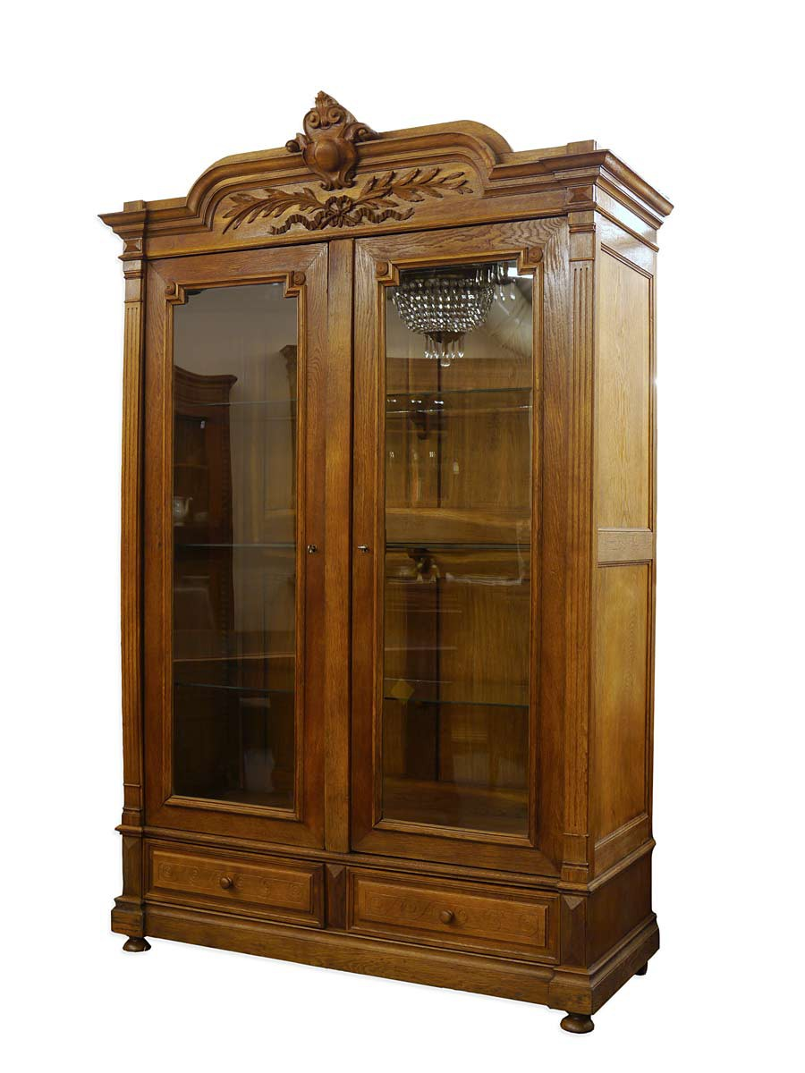 schrank vitrine b cherschrank antik gr nderzeit um 1880. Black Bedroom Furniture Sets. Home Design Ideas
