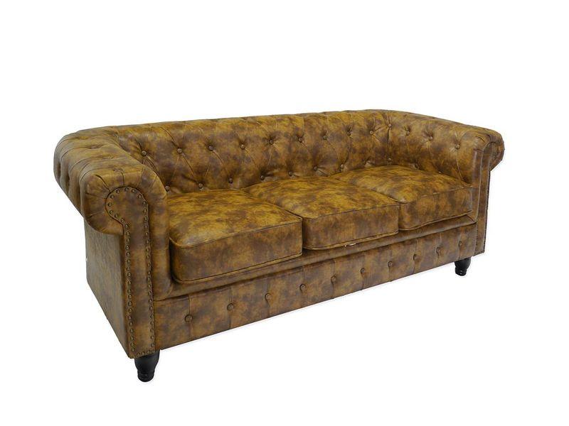 Couch Sofa Ledersofa 3-Sitzer Chesterfield Stil B 199 cm (4961) – Bild 1