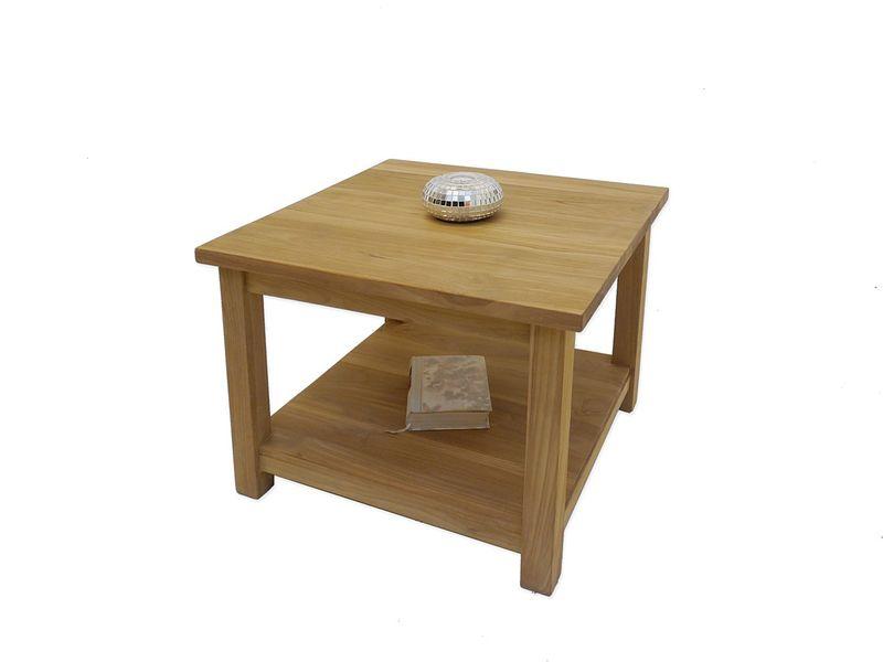 Tisch Beistelltisch Couchtisch im mediterranen Stil Teakholz massiv 60x60 (4989) – Bild 1